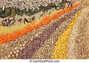 vario, semillas, y, granos