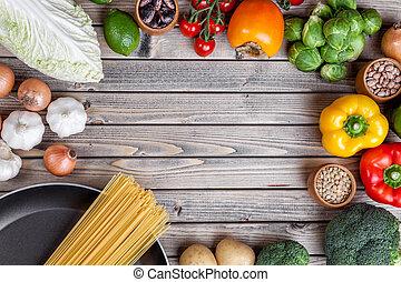 vario, verdura, frutte, e, erbe, con, uno, padella