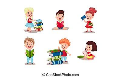 vario, vettore, lettura, bambini, illustrazioni, posizioni, set, libri