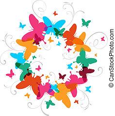variopinto, primavera, farfalla, disegno, fondo