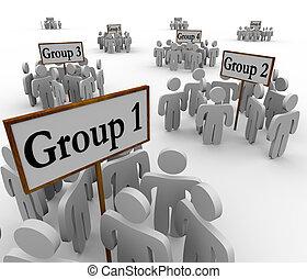 varios, grupos, gente, reunido, alrededor, reunión, señales