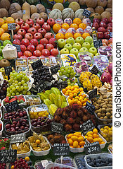 Varioud fruits and vegetables at market - Various colorful...