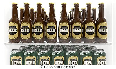 Various 3D beer containers on refrigerator shelve