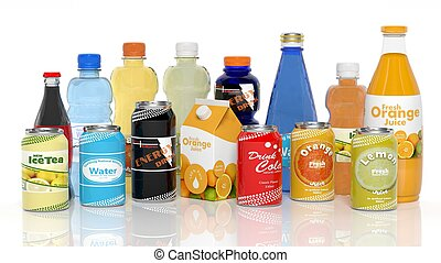 Various 3D beverages products isolated on white