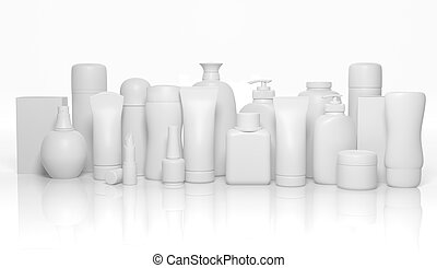 Various 3D blank personal care products mockup isolated on ...