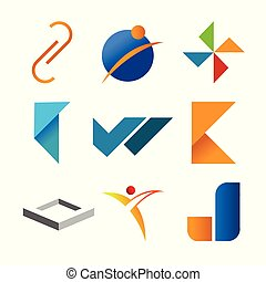 Various Abstract Corporate Symbol Shape Symbol Set