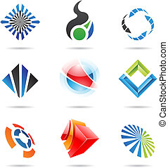 Various abstract icons set 6 - Various colorful abstract...
