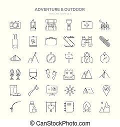 Various Adventure Thin Line Icon Set Design