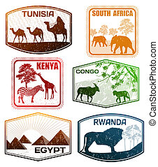 Stylized passport grunge rubber stamps of various African countries, vector illustration