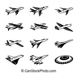 Various airplanes in flight