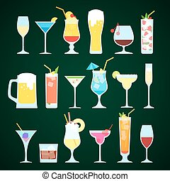 Various alcoholic drinks on a dark background.