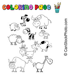 Various Animals Collection - Coloring Page With Various...