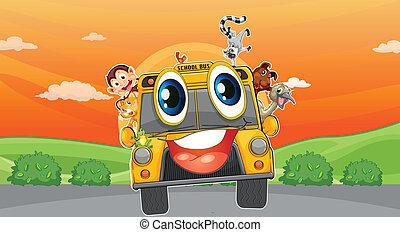 various animals in school bus - illustration of various...