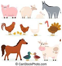 Various animals pets farm flat set of cartoon characters