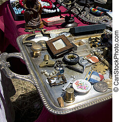 various antiques at a flea market