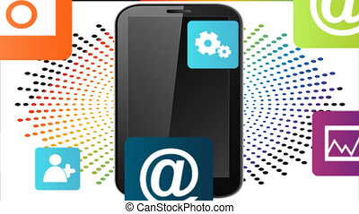 various applications for mobile devices on abstract background