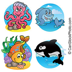 Various aquatic animals and fishes - vector illustration.