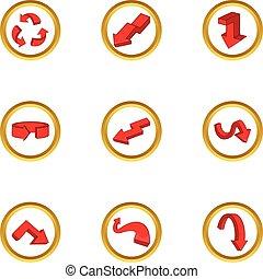 Various arrows icons set, cartoon style