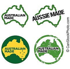 Various Australian made logos vector