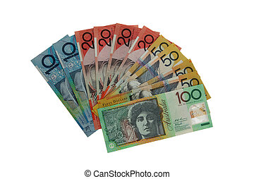 Various Australian notes isolated on white.