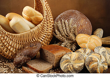Various baked goods - Various fresh baked goods with a...