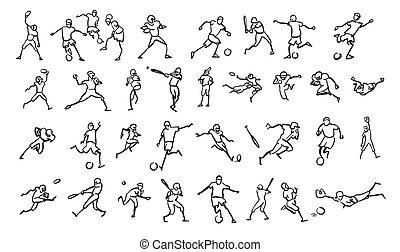 Various Ball Game Motion Sketch Studies Set