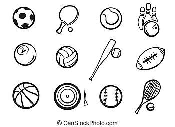 Various Balls Sports Equipment Sketched Set