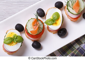 various banquet canape with salmon, eggs top view horizontal
