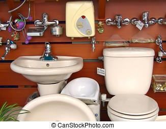 Various Bathroom Fixtures - -- sink, toilets, faucets, etc