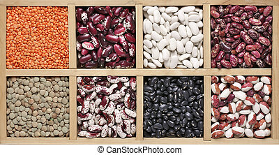 Various beans in box - Various legume grains in wooden box:...