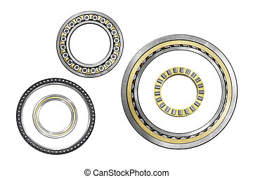 various bearings isolated on a white background
