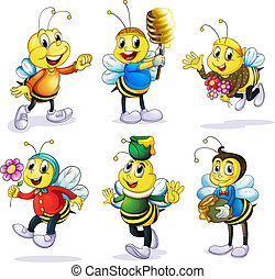 Various bees - Illustration of various bees on a white...