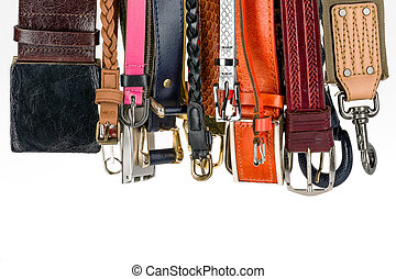 Various belts hanging - Collection of various belts used for...