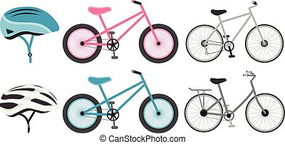 Various bicycles and helmets icons in set collection for design. The type of transport vector symbol stock vector illustration.