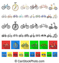 Various bicycles cartoon icons in set collection for design. The type of transport bitmap symbol stock web illustration.