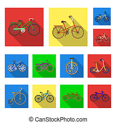 Various bicycles flat icons in set collection for design. The type of transport bitmap symbol stock web illustration.