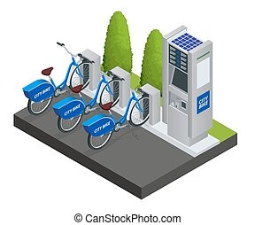 Various bicycles on a rack, available for rent. Isometric ...