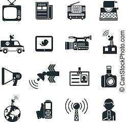 News and Media Icons - Various Black and White News and...