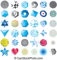 Various blue abstract icons isolate