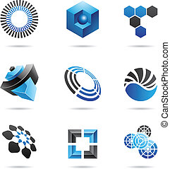 Various blue abstract icons, Set 4 - Various blue abstract...