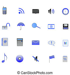 Various blue web icons on a white background.