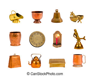 various brass and copper objects collection