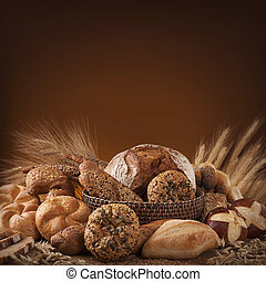 Various bread on a wooden table