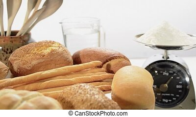 various breads on a white background