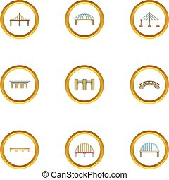 Various bridges icons set, cartoon style