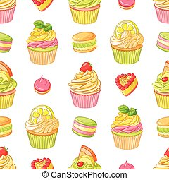 Various bright colorful fruit desserts. Seamless vector pattern on white background.
