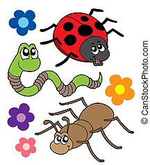 Various bugs collection - isolated illustration.