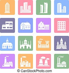 Various buildings flat design icons set
