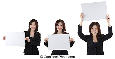 business woman blank cardboard