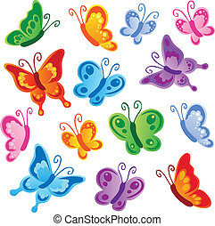 Various butterflies collection 1 - vector illustration.